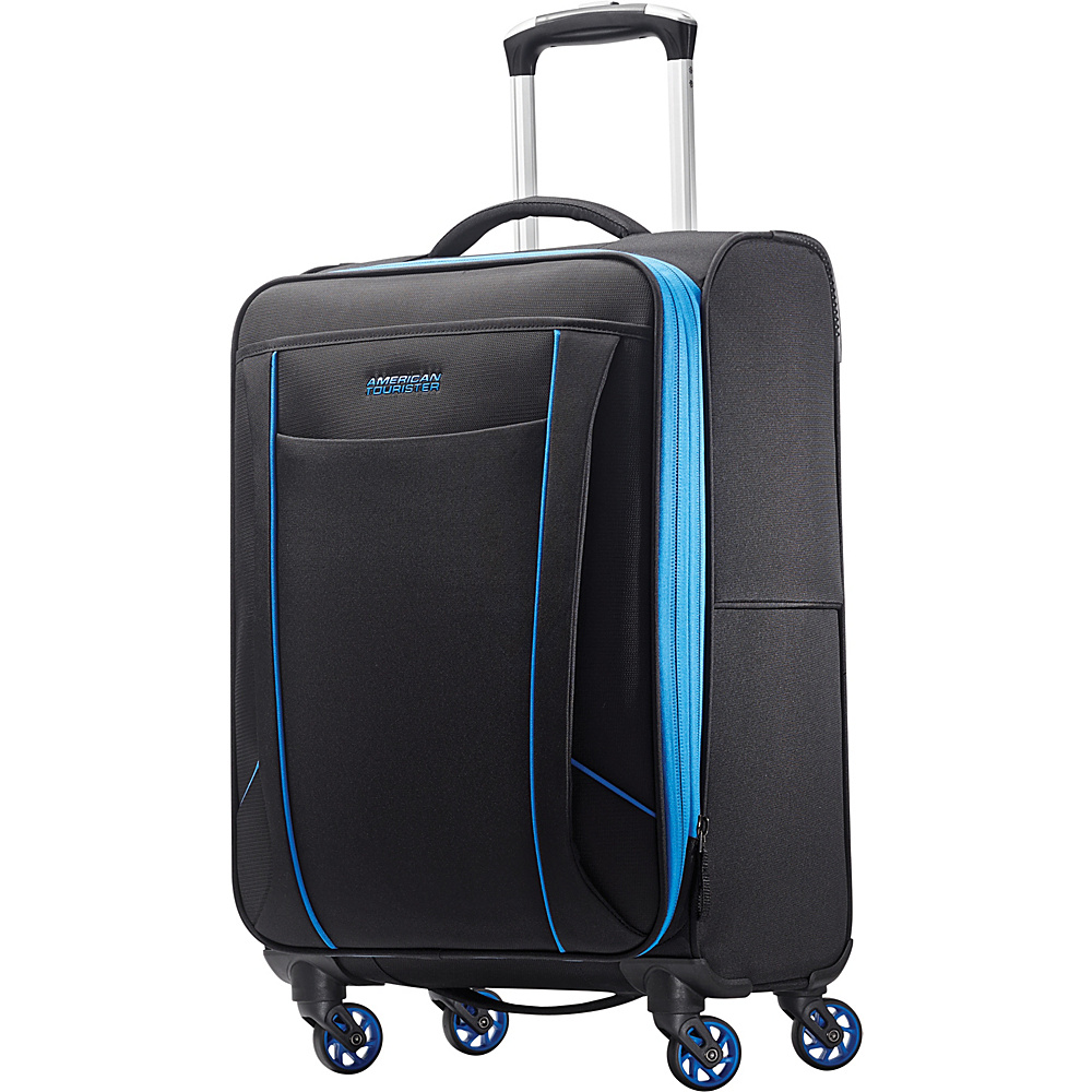 """American Tourister Skylite 20"""" Spinner Black/Blue - American Tourister Small Rolling Luggage"""
