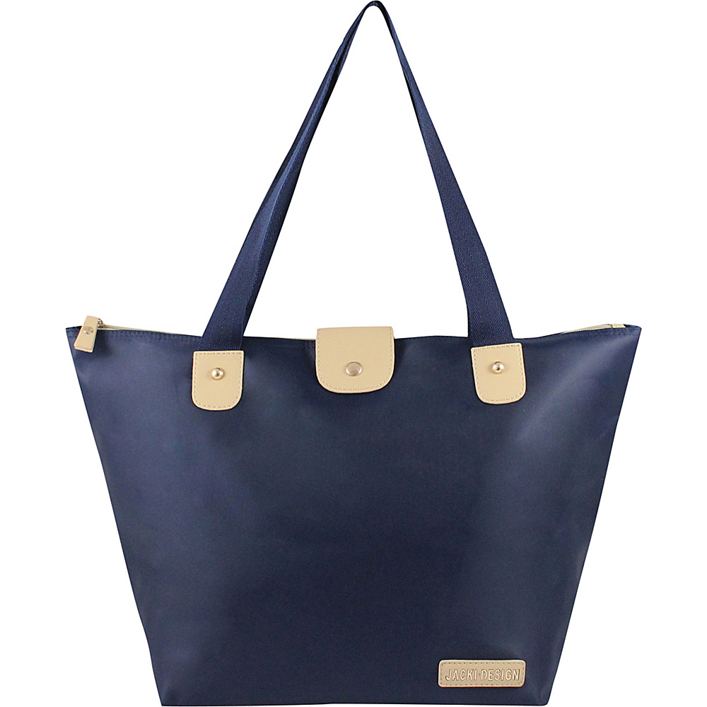 Jacki Design Essential Foldable Tote Bag Large Dark Blue Jacki Design Fabric Handbags