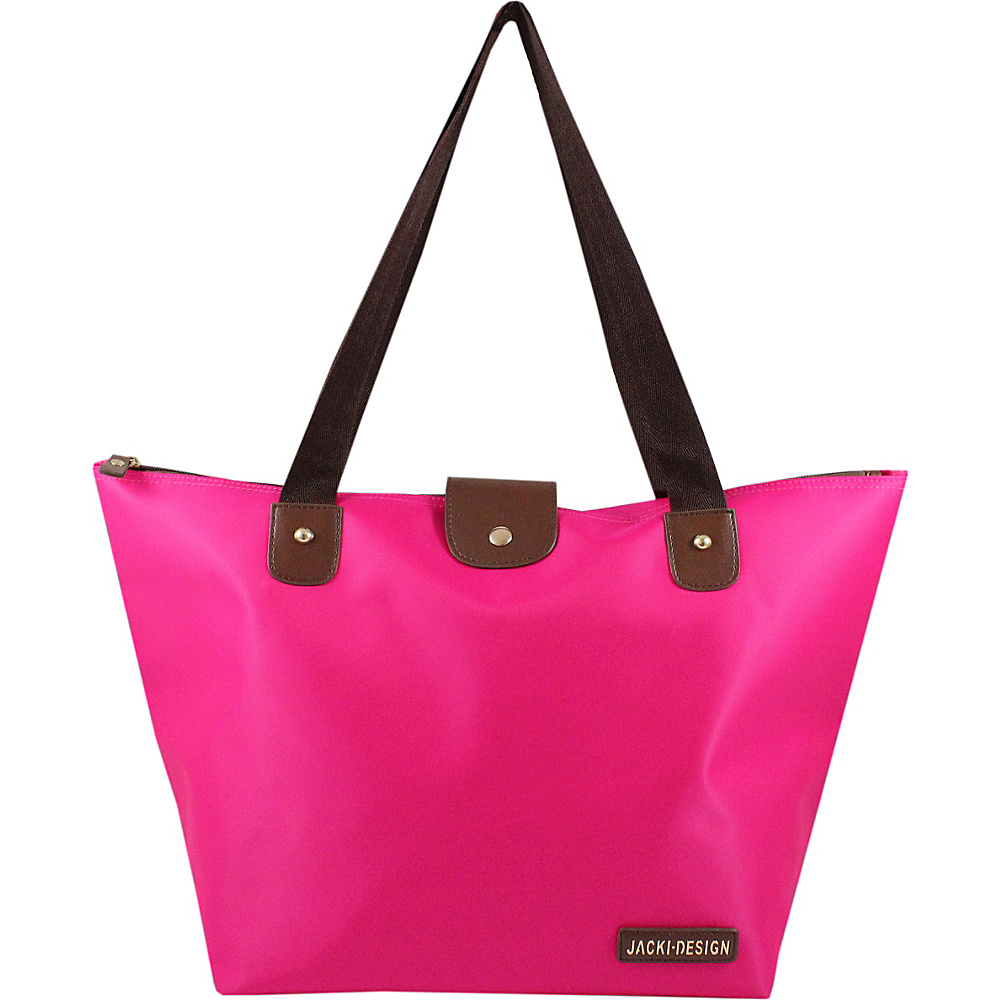 Jacki Design Essential Foldable Tote Bag Large Hot Pink Jacki Design Fabric Handbags