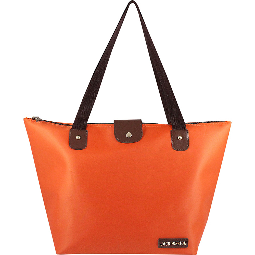 Jacki Design Essential Foldable Tote Bag Large Orange Jacki Design Fabric Handbags