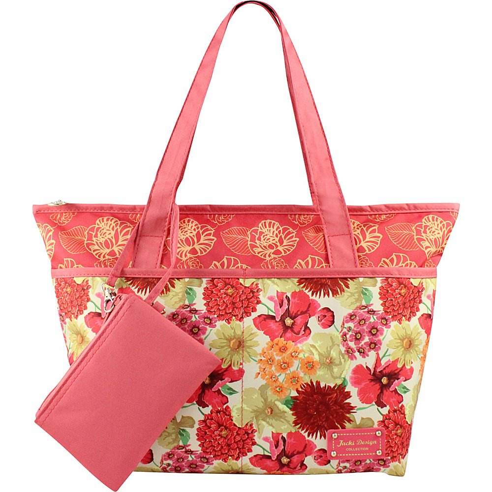 Jacki Design Miss Cherie 2 Piece Tote Bag Coral Jacki Design Fabric Handbags