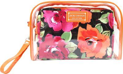 Jacki Design Tropicana Two Piece Cosmetic Bag Set with Wristlet Orange/Black - Jacki Design Women's SLG Other 10384741