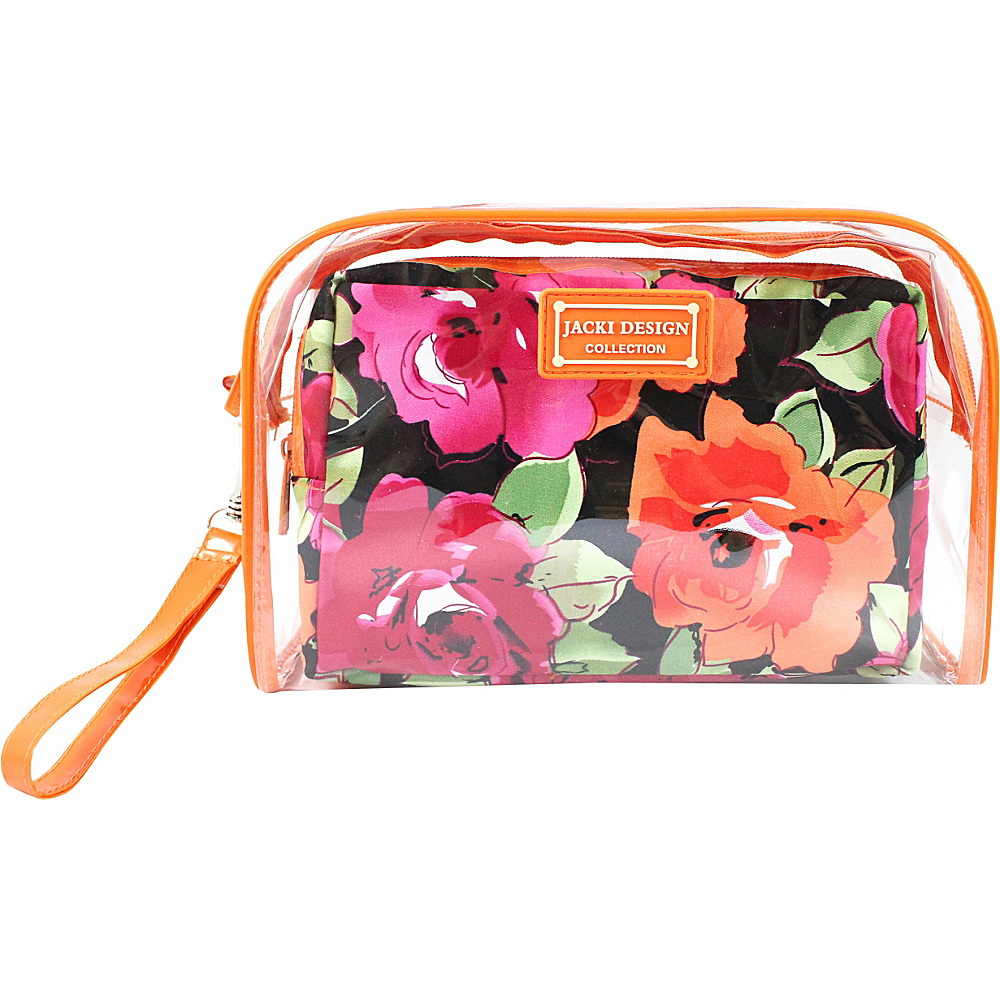 Jacki Design Tropicana Two Piece Cosmetic Bag Set with Wristlet Orange Black Jacki Design Women s SLG Other