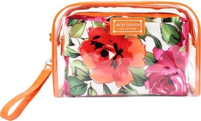 Jacki Design Tropicana Two Piece Cosmetic Bag Set with Wristlet Orange/White - Jacki Design Women's SLG Other