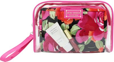 Jacki Design Tropicana Two Piece Cosmetic Bag Set with Wristlet Pink/Black - Jacki Design Women's SLG Other