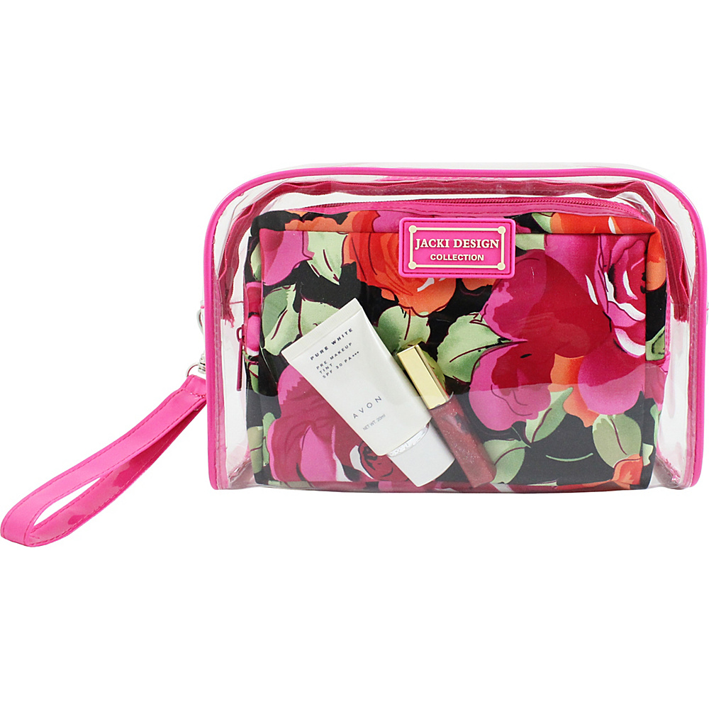 Jacki Design Tropicana Two Piece Cosmetic Bag Set with Wristlet Pink Black Jacki Design Women s SLG Other