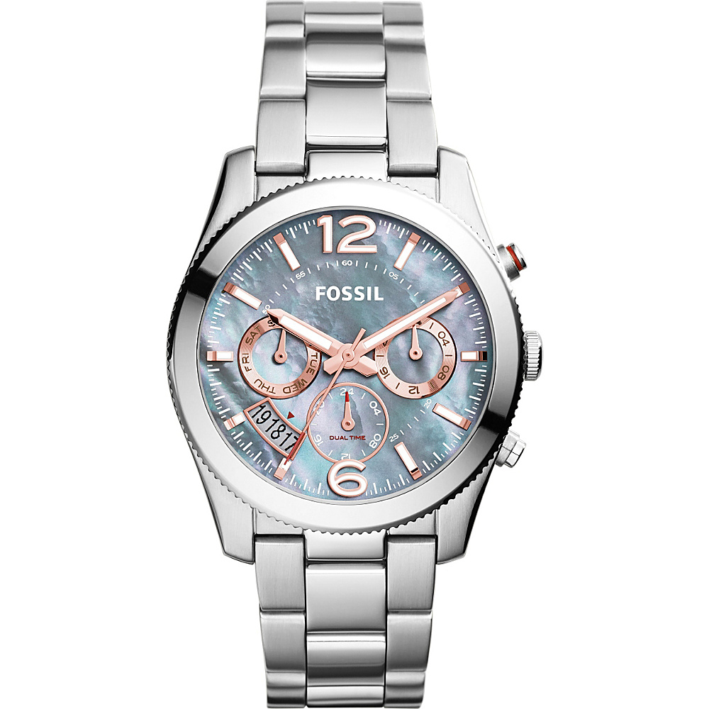 Fossil Perfect Boyfriend Multifunction Stainless Steel Watch Silver/Blue - Fossil Watches - Fashion Accessories, Watches