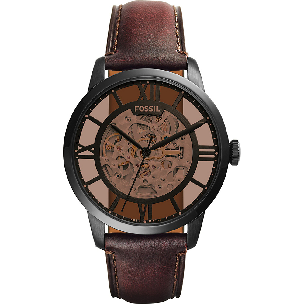 Fossil Townsman Automatic Leather Watch Dark Brown - Fossil Watches - Fashion Accessories, Watches