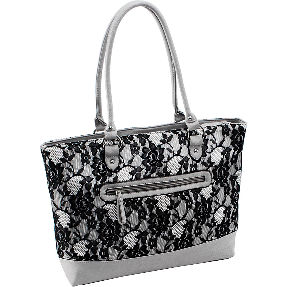 Parinda Aaryn Tote Grey Lace Parinda Fabric Handbags