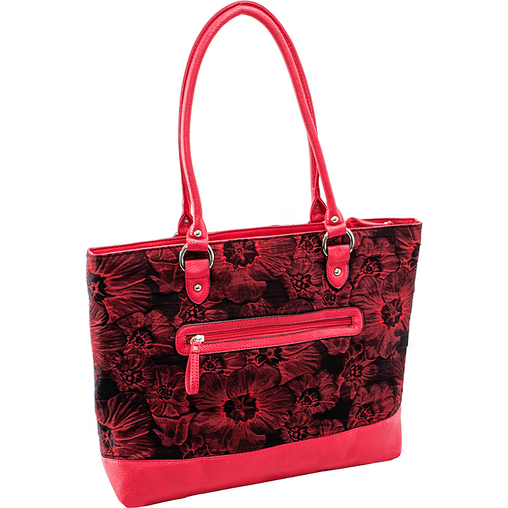 Parinda Aaryn Tote Red Floral - Parinda Fabric Handbags