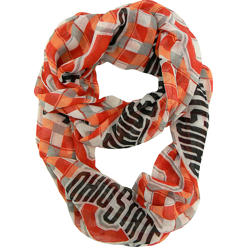Littlearth Sheer Infinity Scarf Plaid - Big 10 Teams Ohio State University - Littlearth Hats/Gloves/Scarves - Fashion Accessories, Hats/Gloves/Scarves
