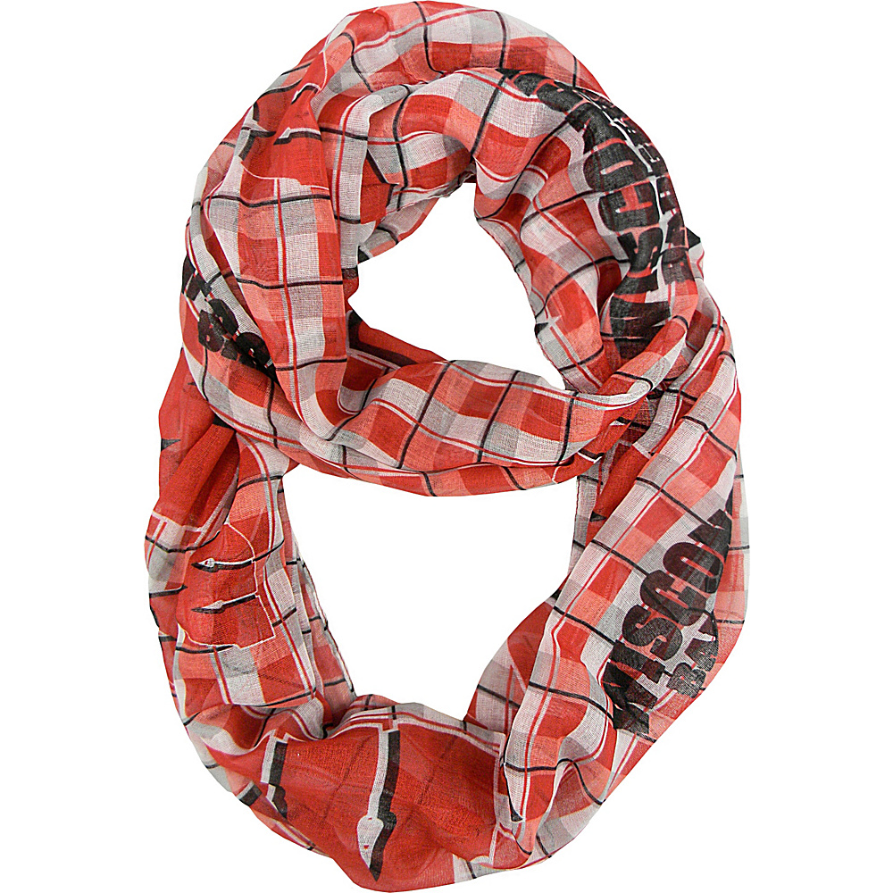 Littlearth Sheer Infinity Scarf Plaid - Big 10 Teams Wisconsin, U of - Littlearth Hats/Gloves/Scarves - Fashion Accessories, Hats/Gloves/Scarves