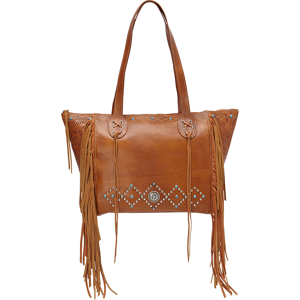 American West Canyon Creek Zip top Fringe Tote Golden Tan American West Leather Handbags