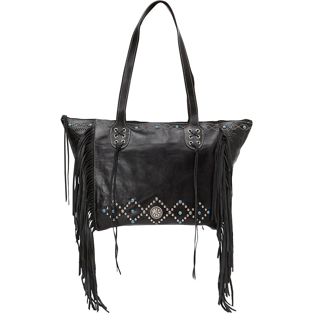 American West Canyon Creek Zip top Fringe Tote Black American West Leather Handbags
