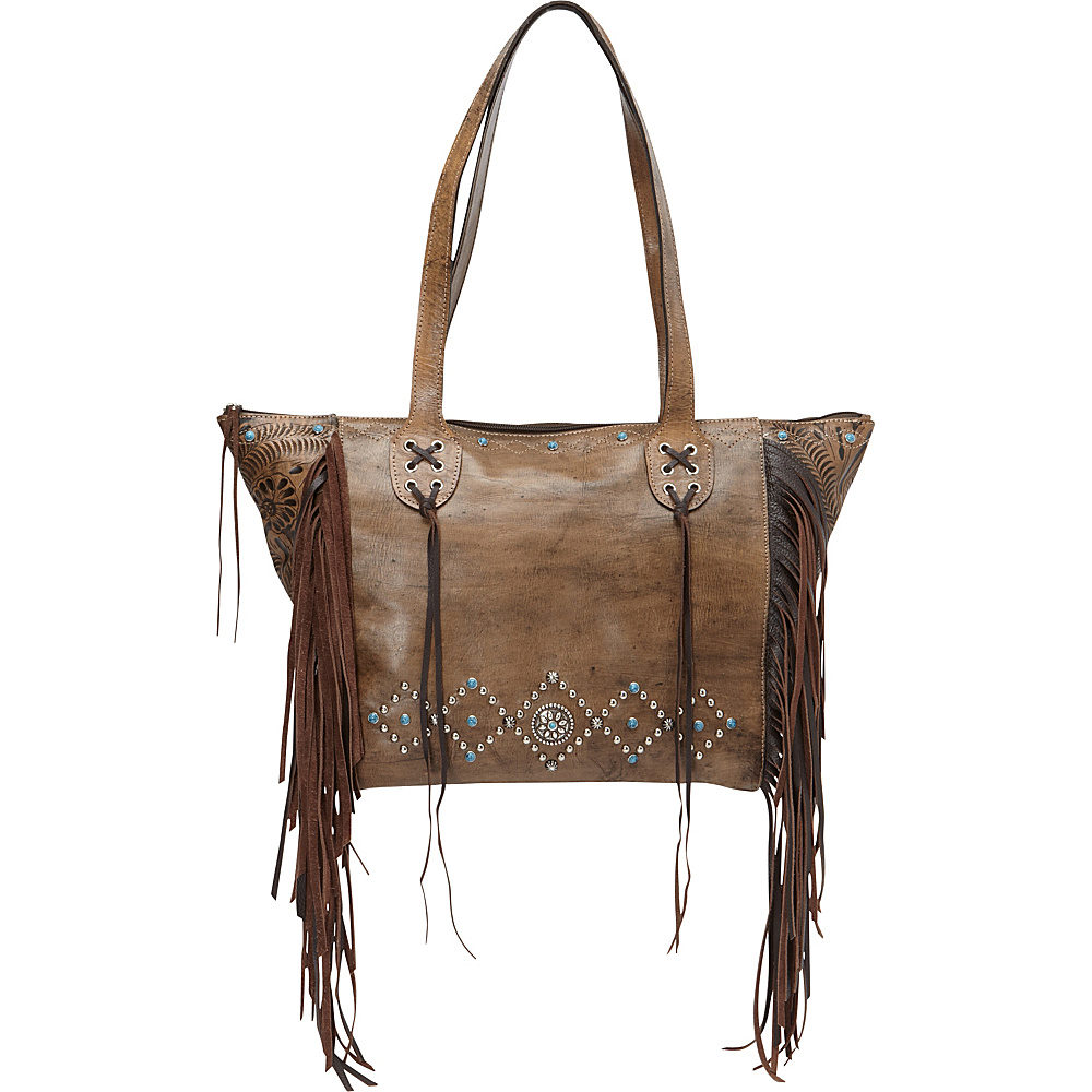 American West Canyon Creek Zip top Fringe Tote Distressed Charcoal Brown American West Leather Handbags