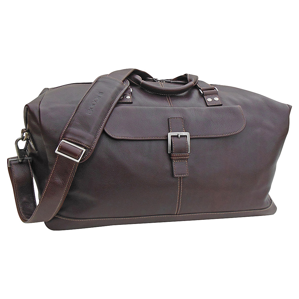Boconi Tyler Tumbled Cargo Duffle Coffee with Khaki Boconi Travel Duffels