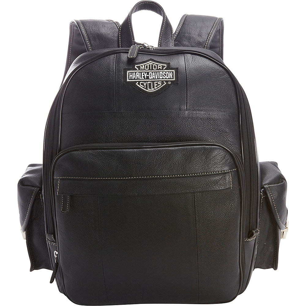 Harley Davidson by Athalon Leather Backpack Large Black Harley Davidson by Athalon Everyday Backpacks