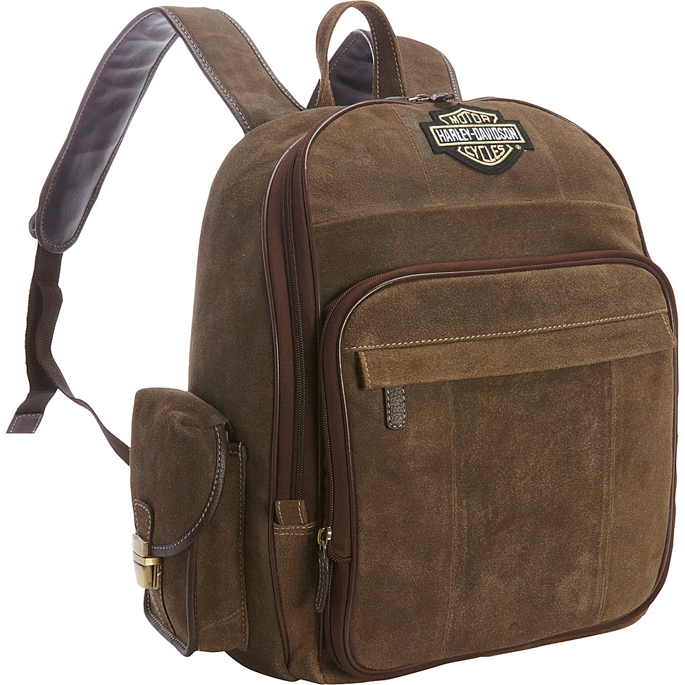 Harley Davidson by Athalon Leather Backpack Large Distressed Brown Harley Davidson by Athalon Everyday Backpacks