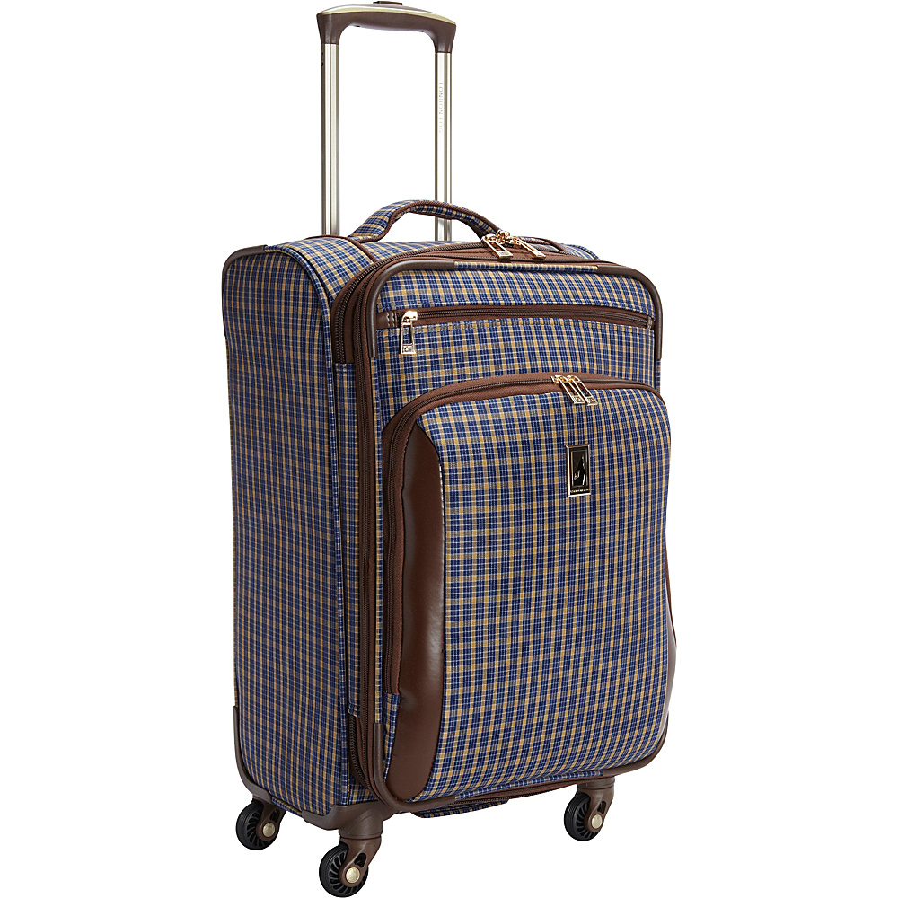 "London Fog Kensington 21"" Expandable Spinner Carry-on Blue Tan Plaid - London Fog Softside Carry-On"