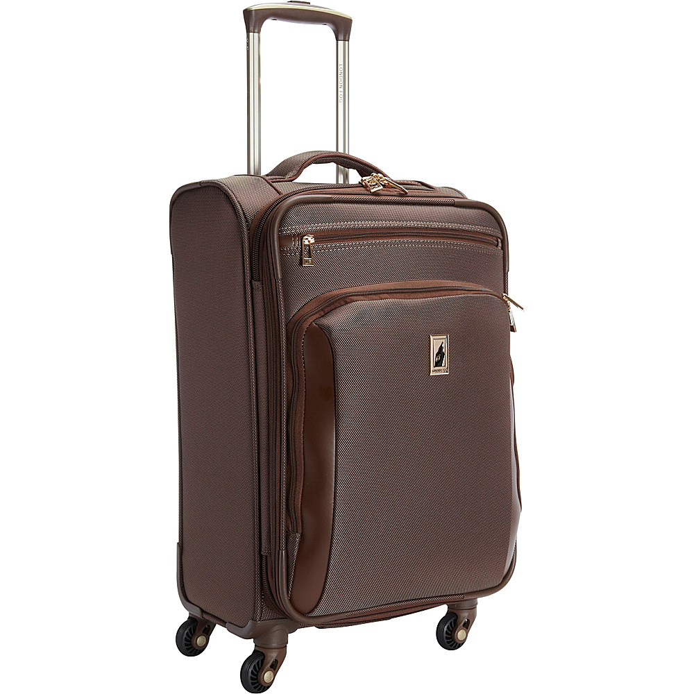 "London Fog Kensington 21"" Expandable Spinner Carry-on Bronze - London Fog Softside Carry-On"