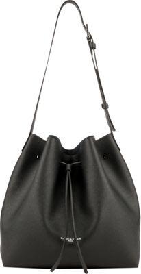 Lancaster Paris PUR Saffiano Drawstring Bucket Black - Lancaster Paris Leather Handbags
