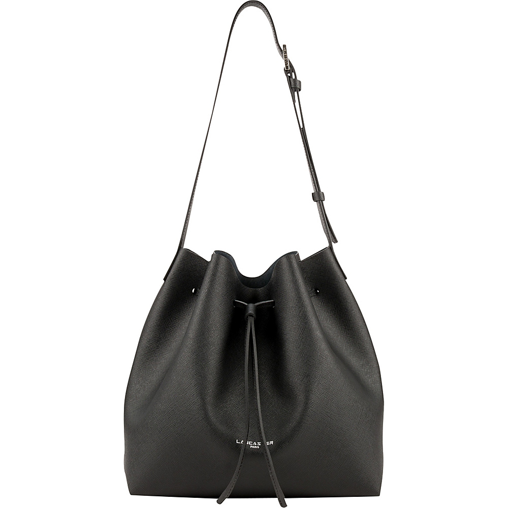 Lancaster Paris PUR Saffiano Drawstring Bucket Black Lancaster Paris Leather Handbags
