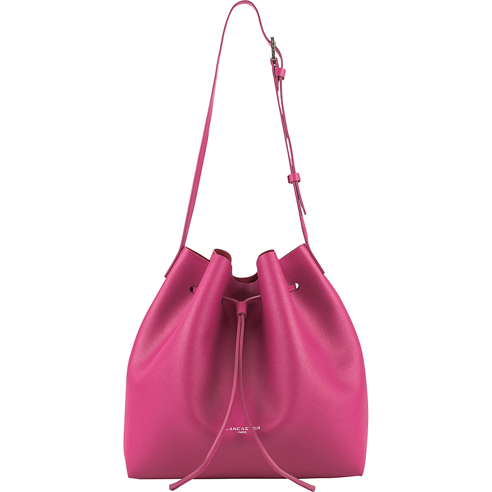 Lancaster Paris PUR Saffiano Drawstring Bucket Fuxia Lancaster Paris Leather Handbags