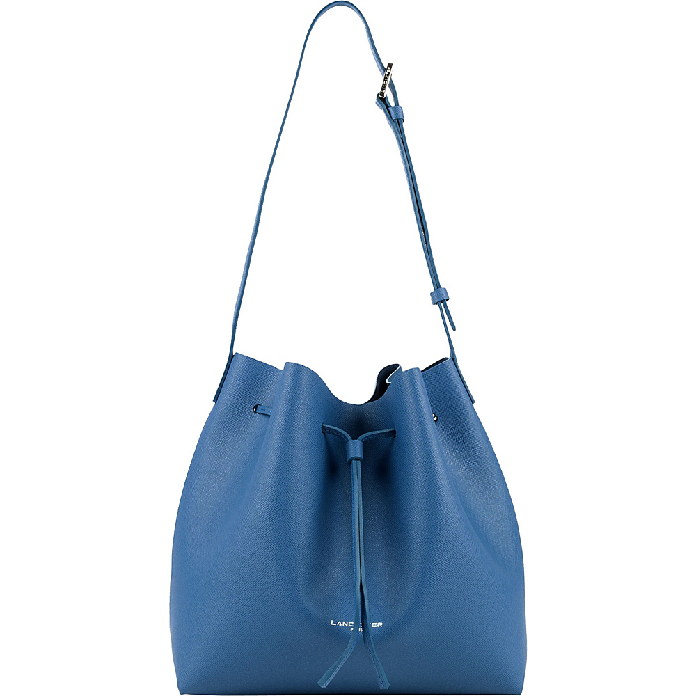 Lancaster Paris PUR Saffiano Drawstring Bucket Blue Jean Lancaster Paris Leather Handbags