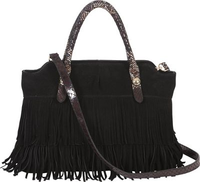 BUCO Fringe Tote Black - BUCO Leather Handbags