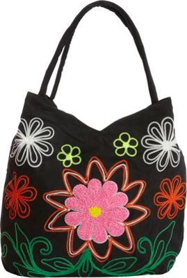 Image of Bamboo 54 Embroidered Hobo Black - Bamboo 54 Fabric Handbags