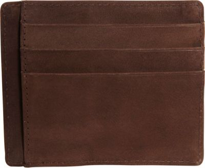 Vicenzo Leather Survival Creed Full Grain Leather Slim Card Case Brown - Vicenzo Leather Men's Wallets