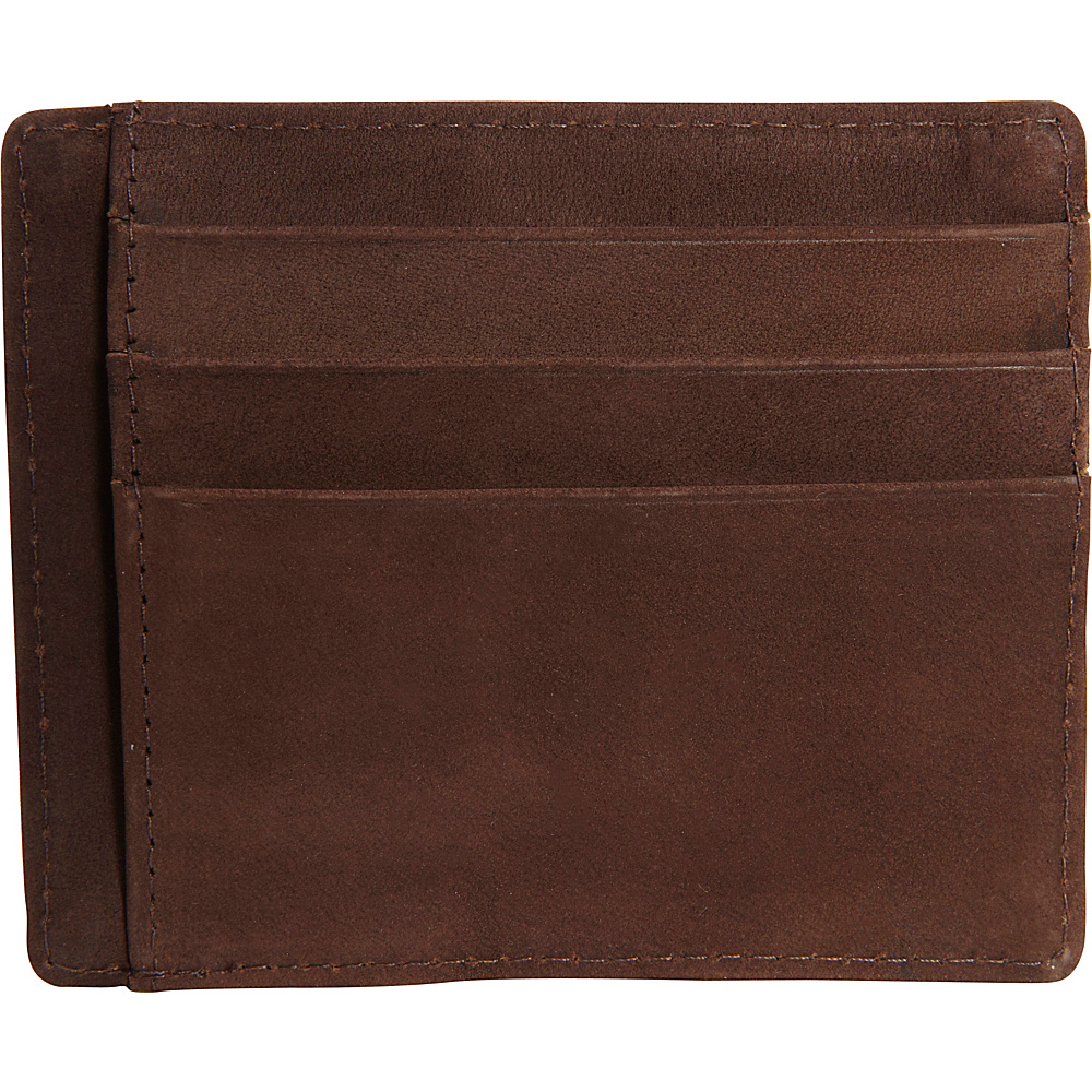 Vicenzo Leather Survival Creed Full Grain Leather Slim Card Case Brown Vicenzo Leather Men s Wallets