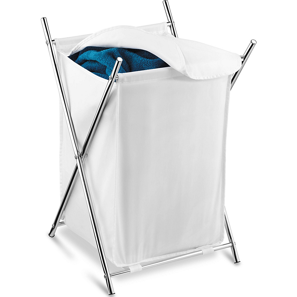 Honey Can Do Chrome Folding Hamper W Cover white Honey Can Do Travel Health Beauty
