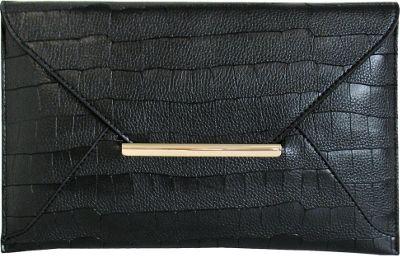 JNB Croc Print Faux Leather Envelope Clutch Black - JNB Manmade Handbags
