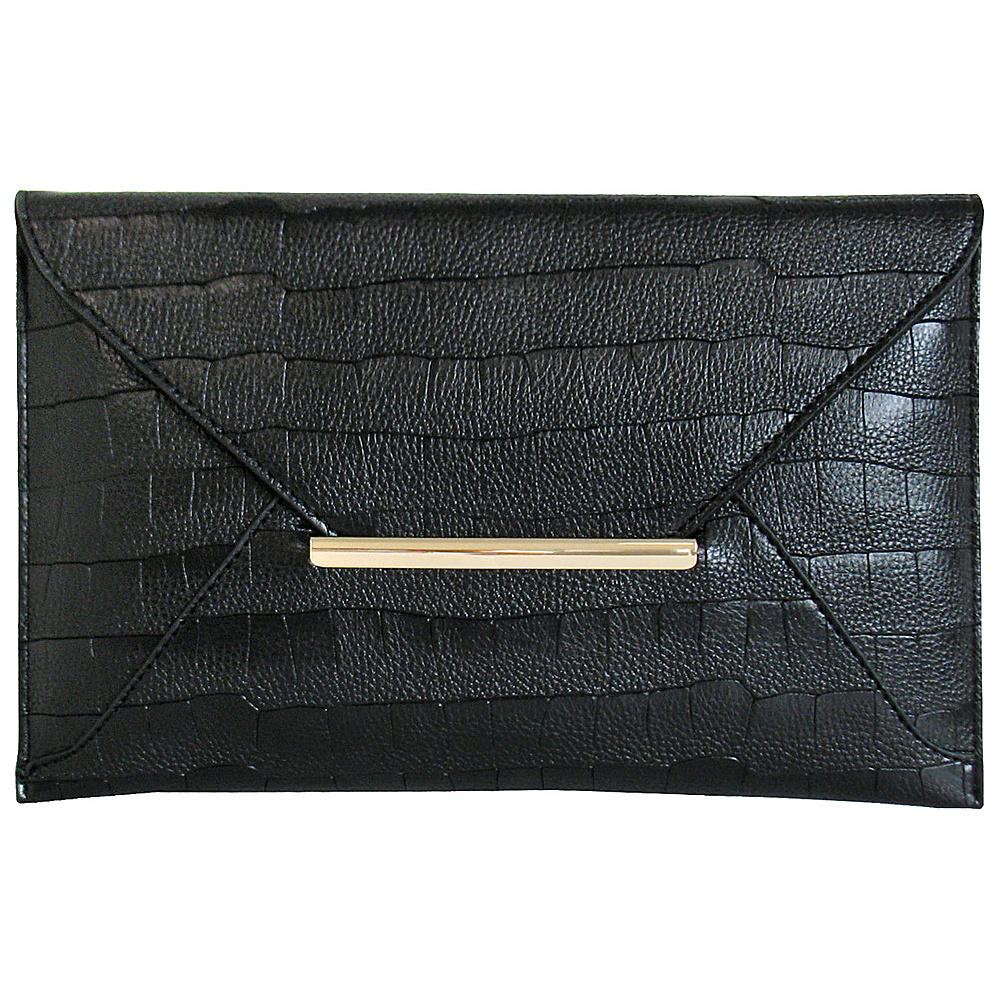 JNB Croc Print Faux Leather Envelope Clutch Black JNB Manmade Handbags