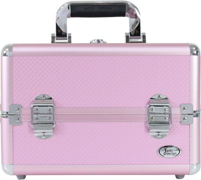 Jacki Design Carrying Makeup Salon Train Case with Removable Trays Pink - Jacki Design Toiletry Kits