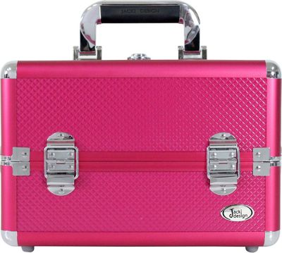 Jacki Design Carrying Makeup Salon Train Case with Removable Trays Hot Pink - Jacki Design Toiletry Kits