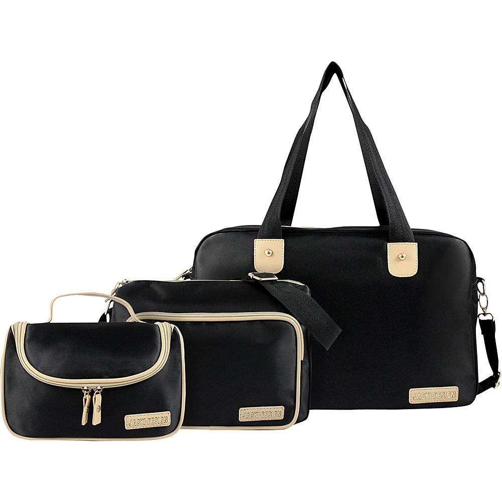 Jacki Design 3 Piece Duffel, Messenger and Toiletry Travel Set Black - Jacki Design Luggage Totes and Satchels