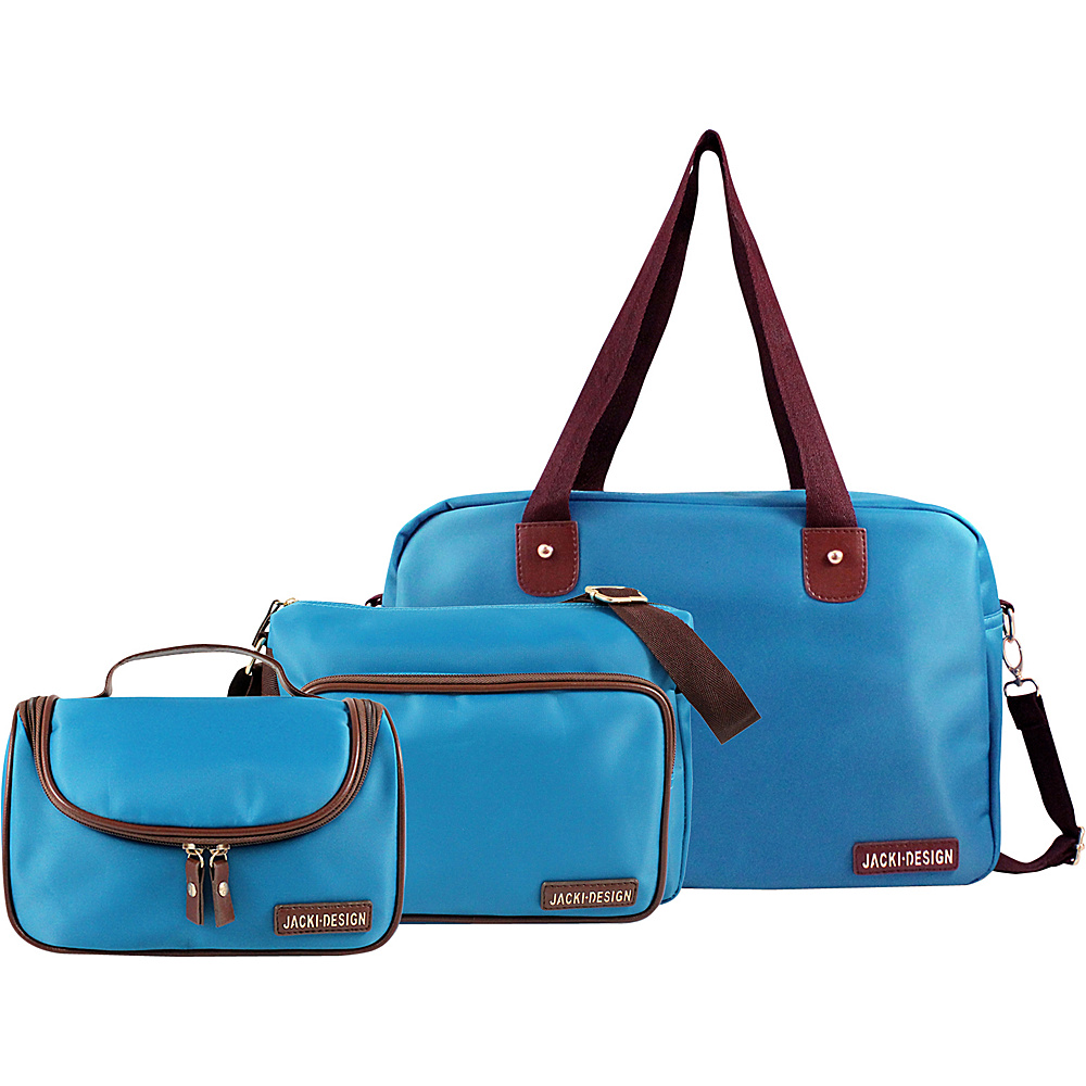 Jacki Design 3 Piece Duffel, Messenger and Toiletry Travel Set Blue - Jacki Design Luggage Totes and Satchels