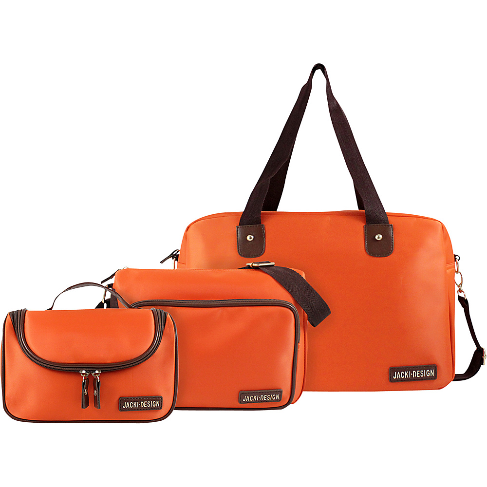 Jacki Design 3 Piece Duffel, Messenger and Toiletry Travel Set Orange - Jacki Design Luggage Totes and Satchels