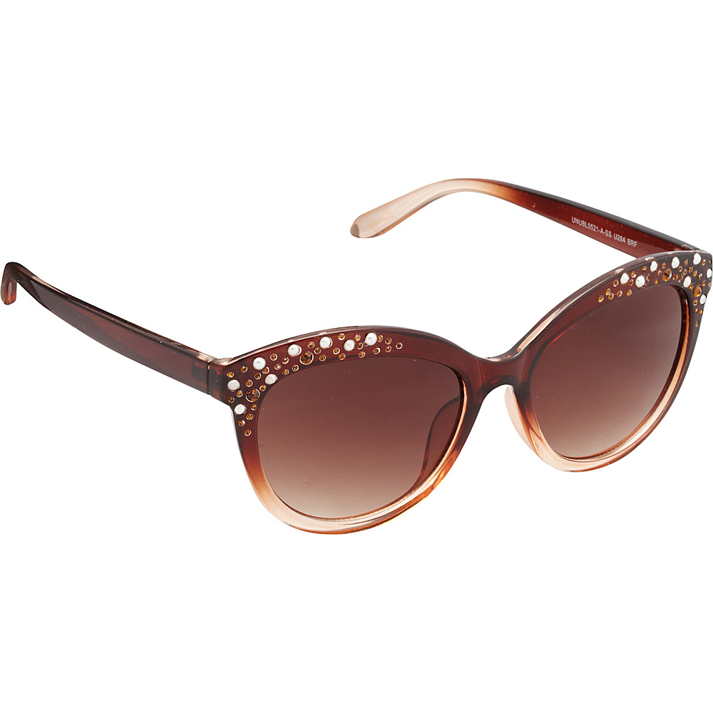 Unionbay Eyewear Rhinestone Cat Eye Sunglasses Brown Fade Unionbay Eyewear Sunglasses