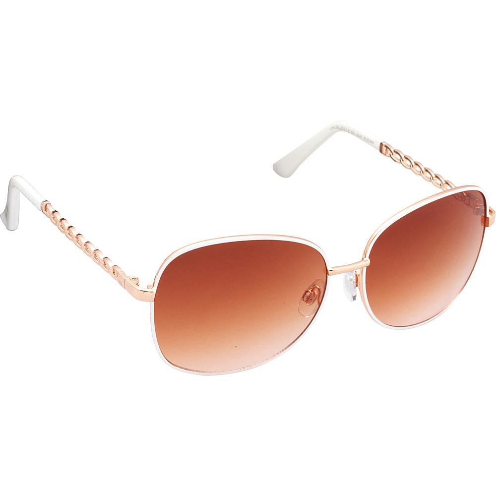 Unionbay Eyewear Metal Chain Link Glam Sunglasses Rose Gold White Unionbay Eyewear Sunglasses