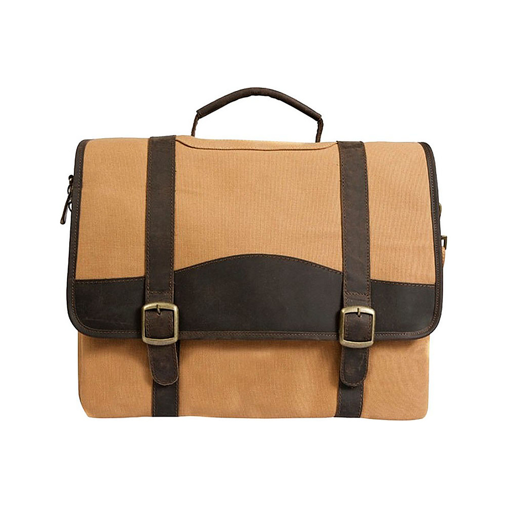 "Canyon Outback Elk Valley 15"" Canvas and Leather Computer Briefcase Brown - Canyon Outback Non-Wheeled Business Cases"