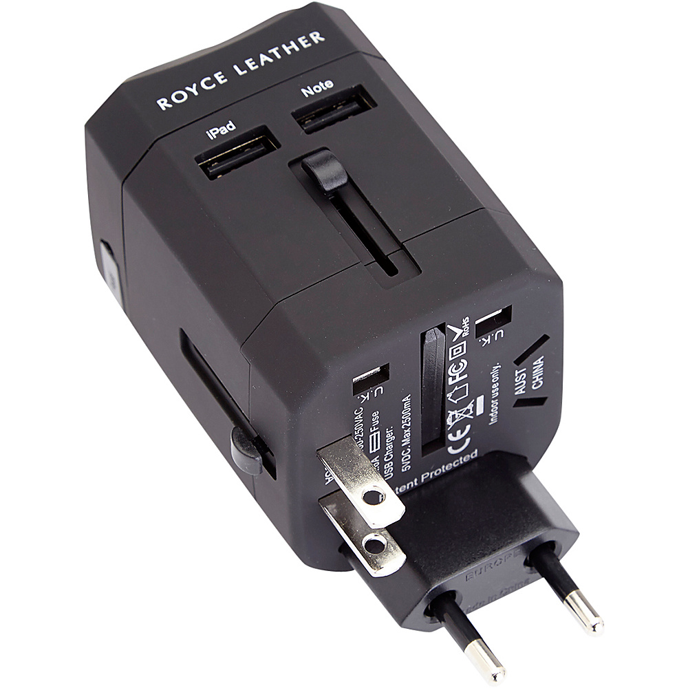 Royce Leather International Travel Adapter Wall Plug Black Royce Leather Electronic Accessories