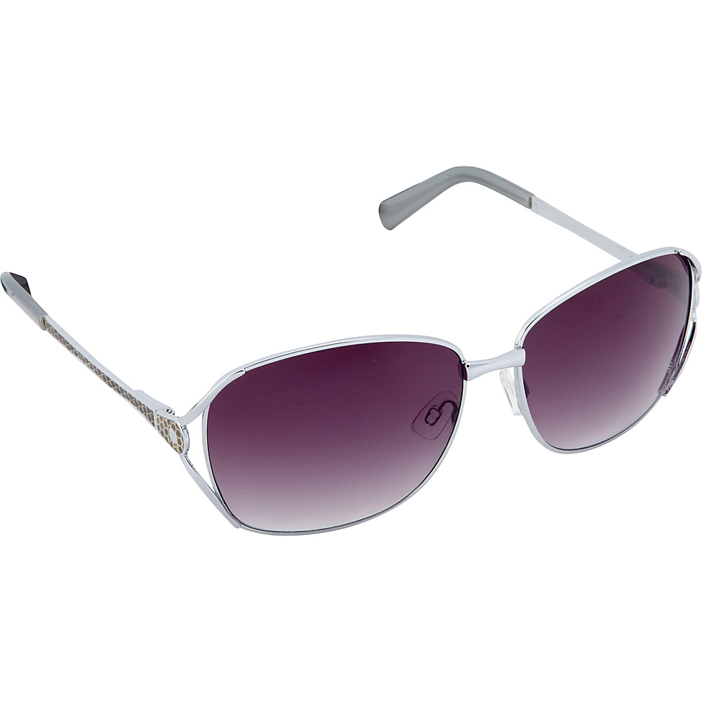 Circus by Sam Edelman Sunglasses Oval Sunglasses Silver Faux Leather Circus by Sam Edelman Sunglasses Sunglasses
