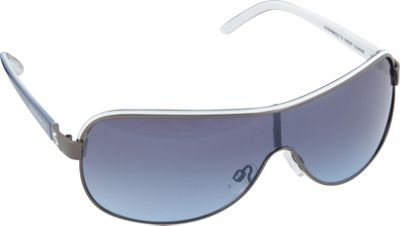 SouthPole Eyewear Metal Shield Sunglasses Gun/White/Black - SouthPole Eyewear Sunglasses