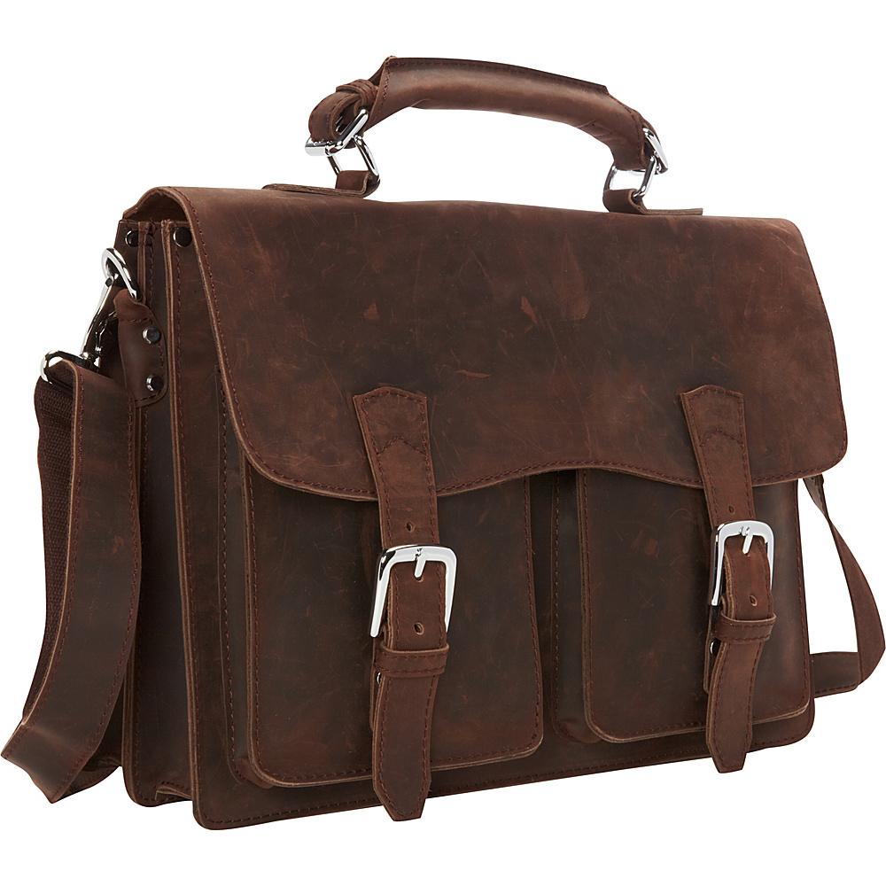 Vagabond Traveler Pro Leather Laptop Briefcase Vintage Distress - Vagabond Traveler Non-Wheeled Business Cases - Work Bags & Briefcases, Non-Wheeled Business Cases