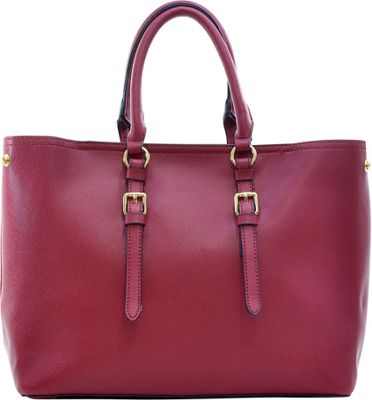 Dasein Buckle Strap Satchel Red - Dasein Manmade Handbags