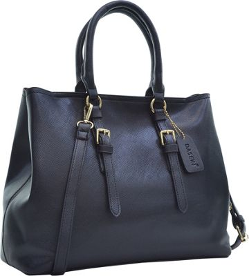 Dasein Buckle Strap Satchel Black - Dasein Manmade Handbags