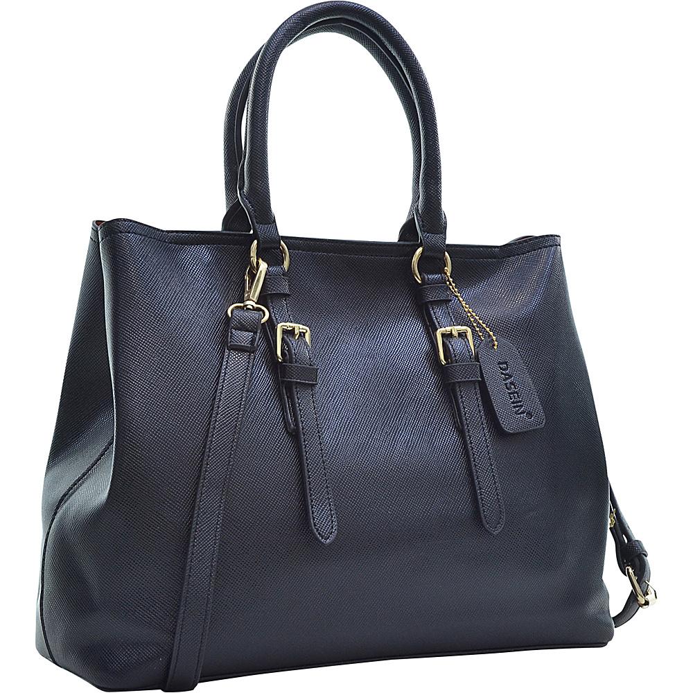 Dasein Buckle Strap Satchel Black Dasein Manmade Handbags